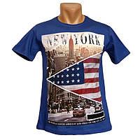 Прикольная мужская футболка New York - №2235, Цвет синий