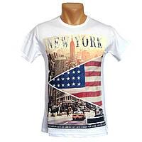 Мужская белая футболка New York - №2236, Цвет белый