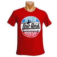 Красная мужская футболка New York - №2243, Цвет красный