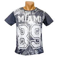Мужская подростковая футболка Miami - №2244, Цвет серый