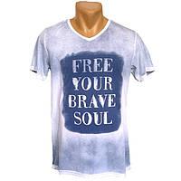 Мужская яркая футболка Free Your Drave Soul - №2250, Цвет синий