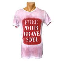Крутая мужская футболка Free Your Drave Soul - №2251, Цвет красный