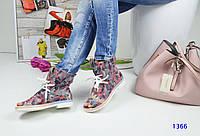 Стильные кожаные летние ботинки с открытым носком на шнуровке, цветочный узор