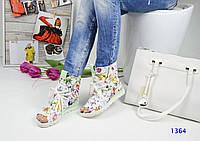 Стильные кожаные летние ботинки белого цвета с открытым носком на шнуровке, цветочный узор