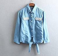 Блуза Джинс Рубашка джинсовая на завязках Кофточка Ковбойка