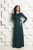 Однотонное длинное платье в пол с атласный поясом