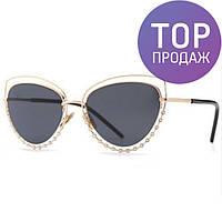 Женские солнечные круглые очки, черные, модные / Женские солнцезащитные очки 2017