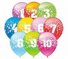 """Воздушные латексные шарики цифры круговая шелкография 12"""" (30 см)  ТМ Show"""