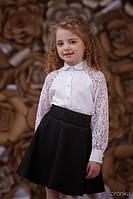 Школьная блузка Кружево Зиронька 3642-1, цвет белый