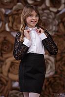 Школьная блузка Кружево Зиронька 3642-2, цвет белый с черным
