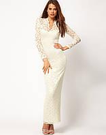 Вечернее, выпускное, свадебное платье. Белое (Слоновая кость). Стрейч-кружево.