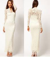 Свадебное, вечернее, выпускное платье. На высокую девушку. Белое. Стрейч-кружево.