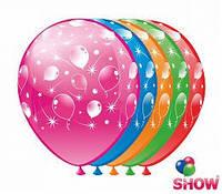 """Воздушные шарики Салют и кометы шелкография микс 12"""" (30 см)  ТМ Show"""