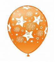 """Воздушные шарики Салютики и звезды шелкография микс 12"""" (30 см)  ТМ Show"""