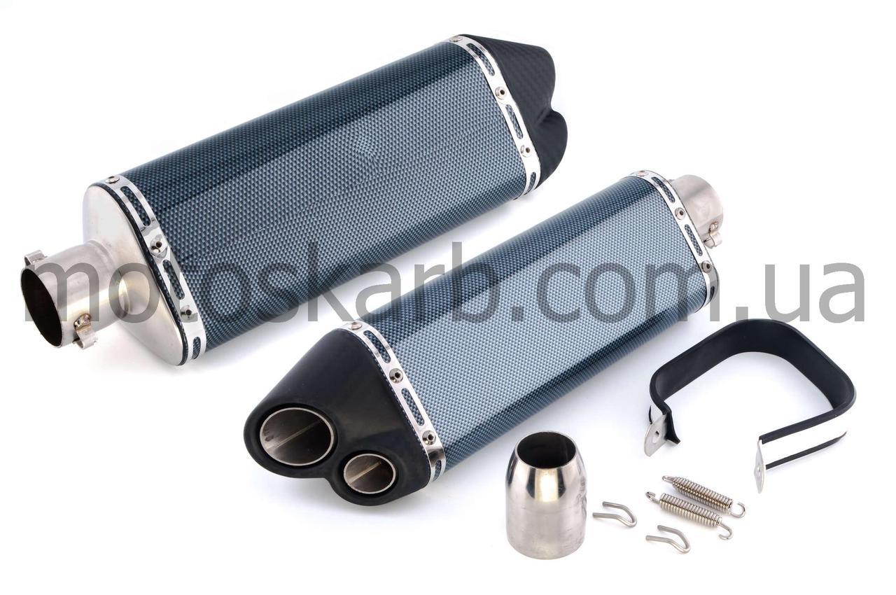 Глушитель, прямоток (600сс), 370*105mm, три-овал, карбон светлый, mod:2