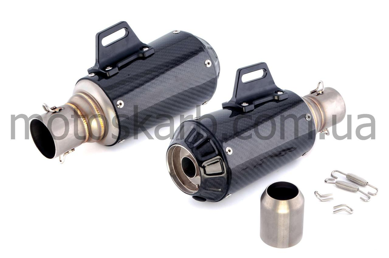 Глушитель, прямоток (600сс), 380*125mm, три-овал, карбон светлый, mod:5