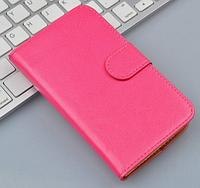 Кожаный чехол-книжка  для Lenovo A850 розовый