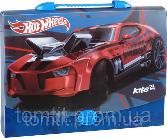 """Портфель-коробка пластиковый """"Hot Wheels"""" (на защелке, формат А4), фото 2"""