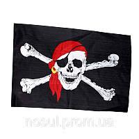 """Пиратский флаг """"Веселый Роджер с красной банданой"""" (48*30 см)"""