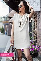 """Женское летнее свободное льняное платье со шнуровкой """" Шагма"""" в разных цветах"""