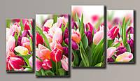"Модульная картина на холсте из 4-х частей ""Розовые тюльпаны"""