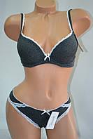 Комплект Lemila Cotton с стрингами чашка A Черный