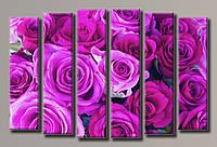 """Модульная картина на холсте из 5-ти частей """"Букет бордовых роз"""""""