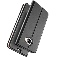 Черный кожаный чехол-книжка премиум класса для Samsung Galaxy A7 (2017) / A720