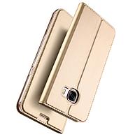 Золотистый кожаный чехол-книжка премиум класса для Samsung Galaxy A7 (2017) / A720