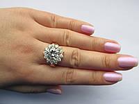 """Серебряное кольцо с золотыми вставками""""Хризантема"""", фото 1"""