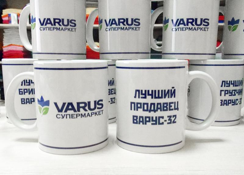 "Печать логотипа компании ""VARUS"" на чашки"