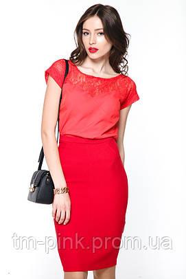 """Блуза гіпюрна кокетка """"Tiffany"""" Блуза гипюр красная"""