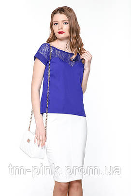 """Блуза гіпюрна кокетка """"Tiffany"""" Блуза гипюр электрик"""
