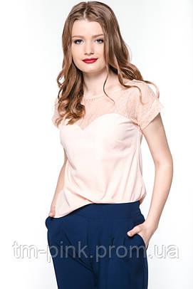 """Блуза гіпюрна кокетка """"Tiffany"""" Блуза гипюр персик"""
