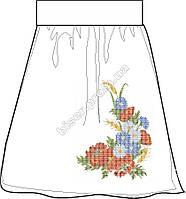 Заготовка женской юбки бисером на льне СПЖБ-3