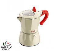 Гейзерная кофеварка GAT ROSSANA белая, 150 мл., на 3 чашки (816-1)