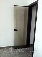 Стеклянные двери в алюминиевой телескопической коробке