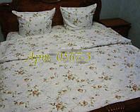 Комплект постельного БЯЗЬ оптом и в розницу, Мелкие розочки, оливка 0567-3