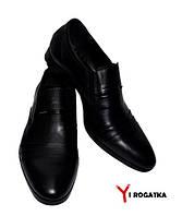 Мужские модельные кожаные туфли KARAT, черные, каблук