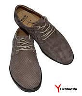 Мужские нубуковые туфли FALCON, цвет латте, перфорация