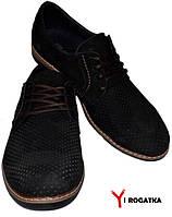 Мужские нубуковые туфли FRANK, черные, перфорация