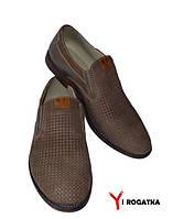 Мужские комбинированные туфли SLAT лето, латте, на резинке
