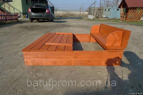 Песочница деревянная с крышкой скамейкой 120*120 см, фото 2