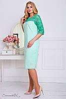 Нарядное платье из жаккарда, с гипюром, лето-весна, бирюзовое, размер 50, 52, 54, 56