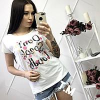 Женская стильная  футболка со стразами, 3 цвета