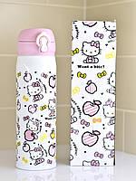 Детский термостакан Hello Kitty 450 мл с поилкой Розовая термокружка