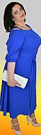 Длинное яркое женское батальное платье