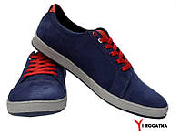Мужские нубуковые кеды синие красные шнурки
