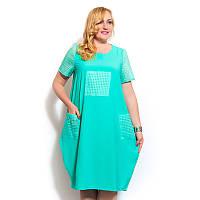 Женское летнее платье с перфорацией большого размера