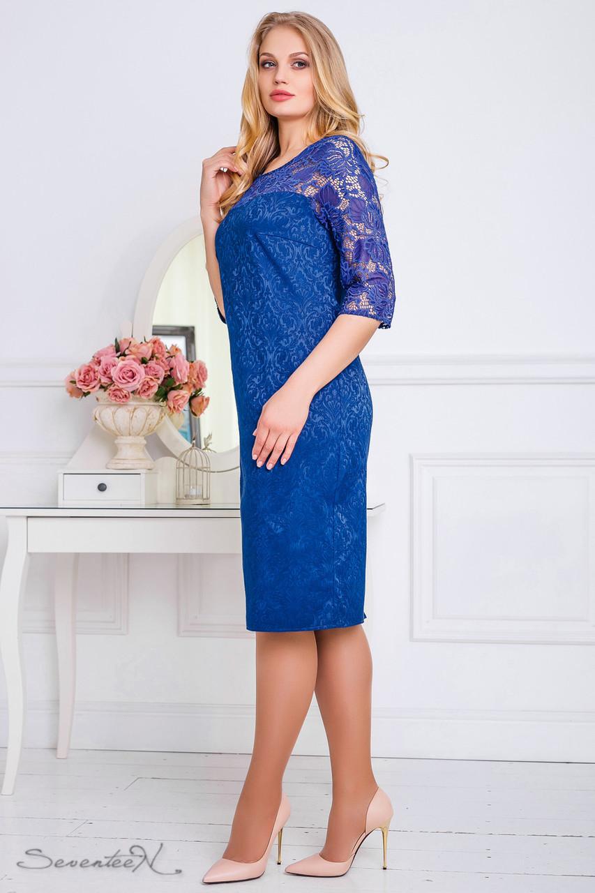 Ошатне синє плаття з гіпюром, розміри від 50 до 56, жаккард